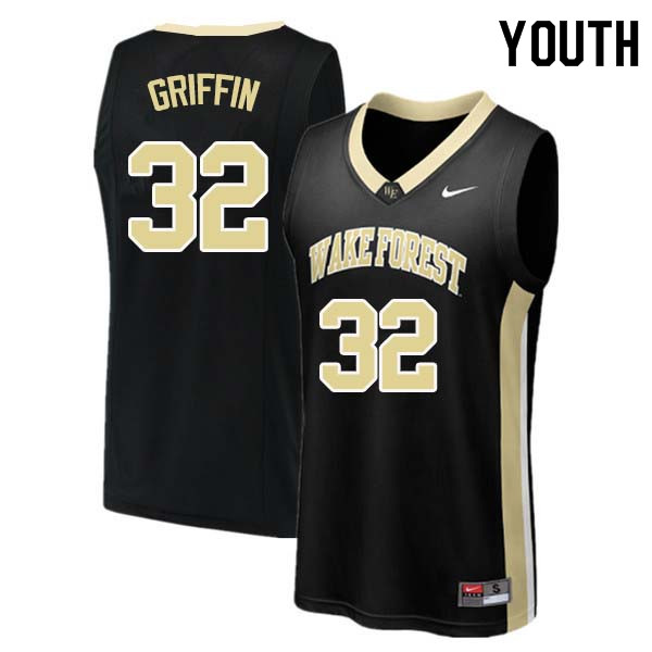 Youth #32 Rod Griffin Wake Forest Demon Deacons College Basketball Jerseys Sale-Black